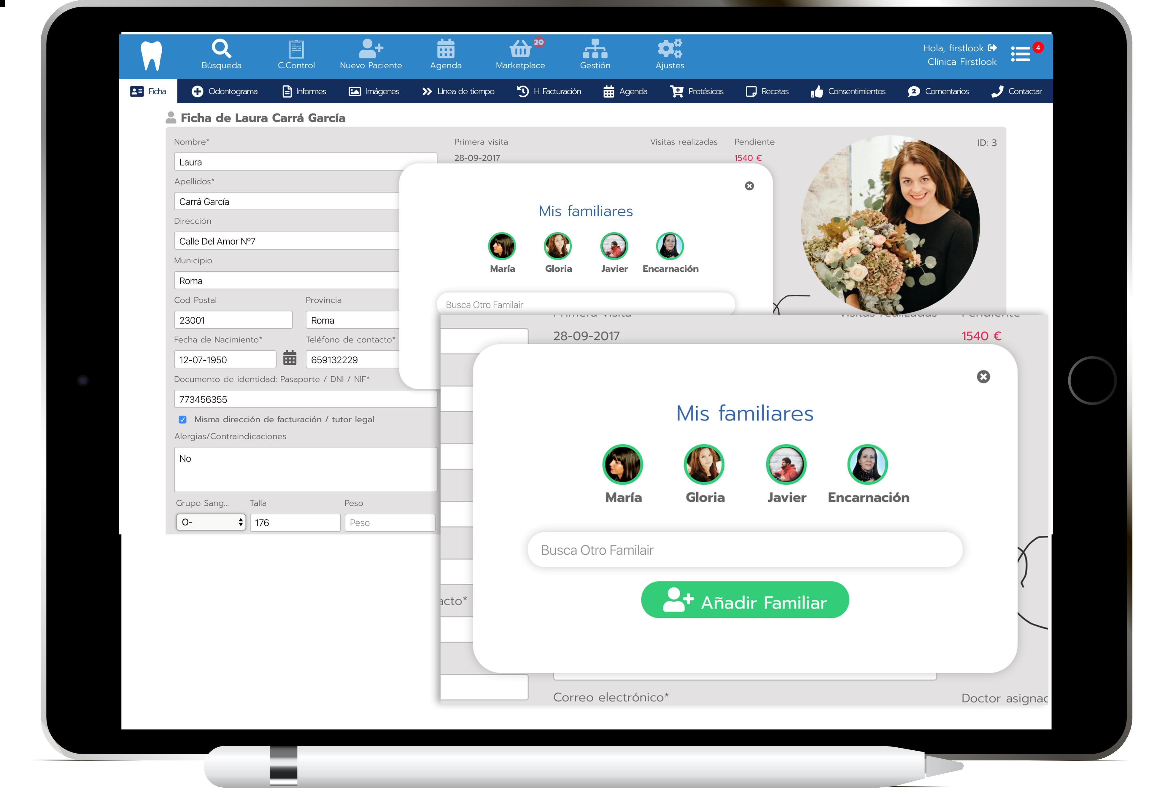 Módulo Familias en Software dental Julia